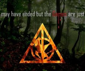 harry potter, the hunger games, and magic image
