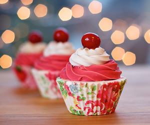 cupcake, food, and cherry image