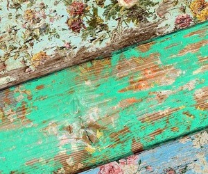 flowers, vintage, and wood image