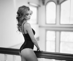 black and white, bodysuit, and boudoir image