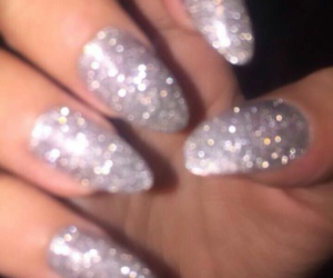 silver glitter nails and glitter almond nails image