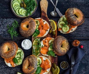 bagel, food, and salmon image