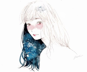 beauty, bluehair, and draw image