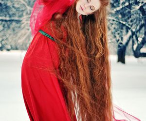 redhead, red, and snow image
