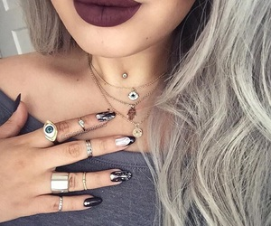 acrylics, medusa piercing, and rings image