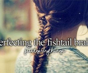hair, braid, and fishtail image