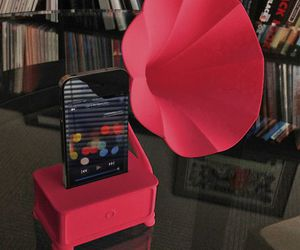 speaker, gramophone, and iphone image