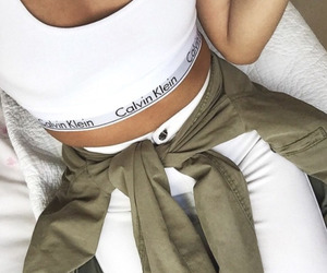 Calvin Klein, white, and outfit image