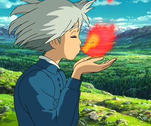howl's moving castle, calcifer, and anime image