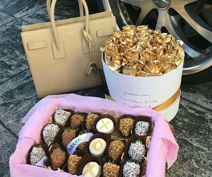 bag, chocolate, and gold image