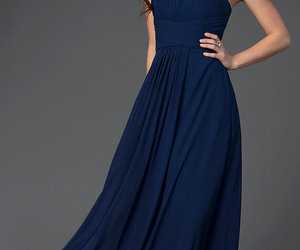 dress, navy blue, and Prom image
