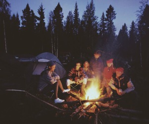 friends, camping, and fire image