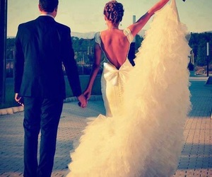 love, wedding, and dress image