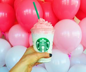 starbucks, pink, and balloons image