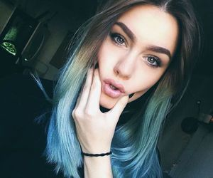 Beautiful Girls, blue, and color hair image