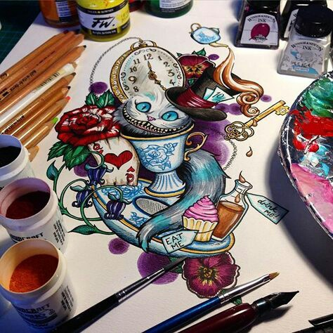 alice in wonderland, art, and cheshire image