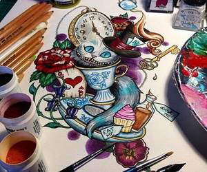 alice in wonderland, cheshire, and art image