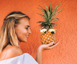 girl, orange, and pineapple image