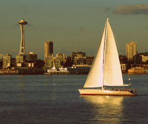 seattle, Space Needle, and sailing image