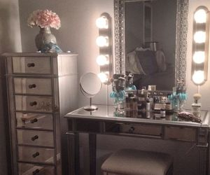 bedroom, mirror, and luxury image