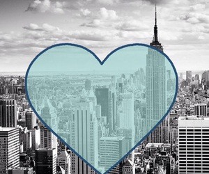 blue, heart, and new york image