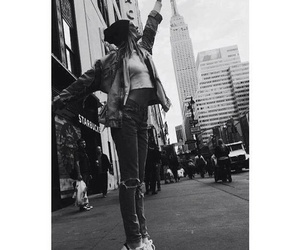 new york, black and white, and model image