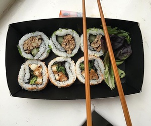 japan, sushi, and california roll image
