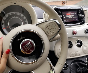 car, white, and fiat500 image