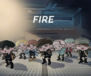 bts, fire, and jin image