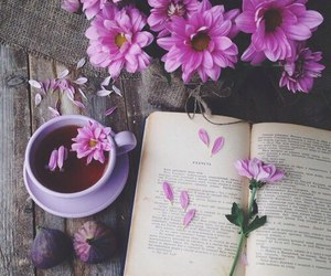 books, happy, and flower image