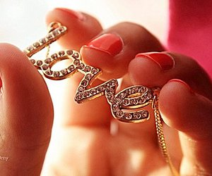 love, nails, and necklace image