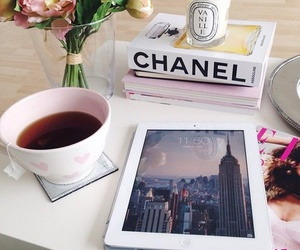 chanel, tea, and ipad image