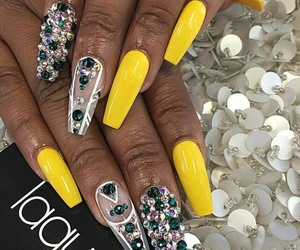 yellow nails, white diamonds, and green diamonds image