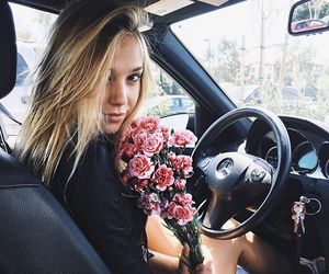 flowers, car, and alexis ren image