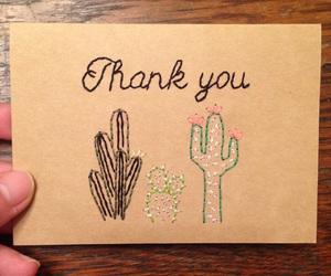 cacti, embroidery, and thank you image