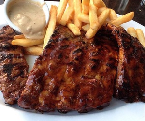 food, fries, and steak image