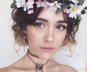 flowers, makeup, and girl image