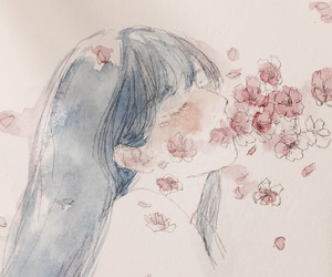 beauty, girl, and watercolor image