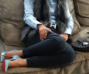 fur vest, Louis Vuitton, and office image