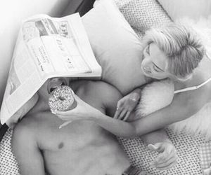 black and white, donuts, and romantic image