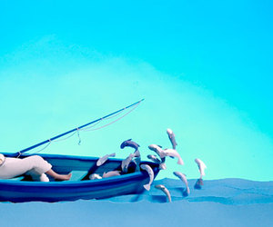 blue, Paper, and boat image