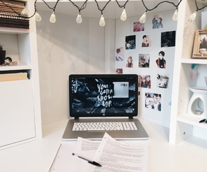 book, desk, and laptop image