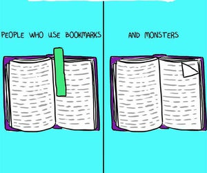 book, monster, and bookmark image
