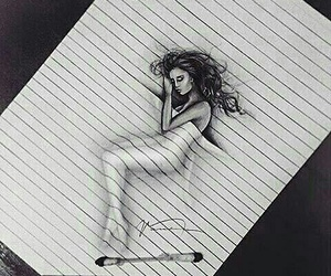 3D art, lady, and pencil image