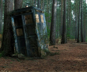 doctor who, tardis, and forest image