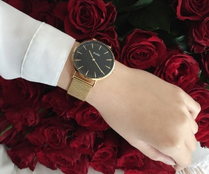 black, gold, and roses image