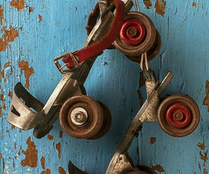 antique, rollerblades, and rustic image