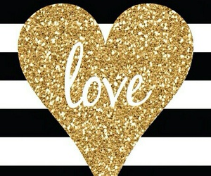love, heart, and gold image