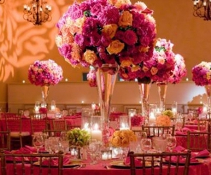 dining, pink, and flowers image