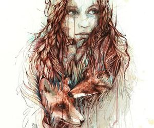 girl, fox, and art image